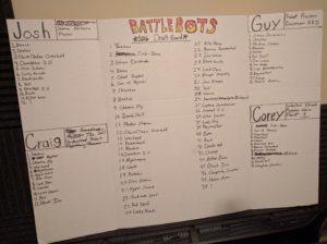 Fantasy Battlebots Draft Board